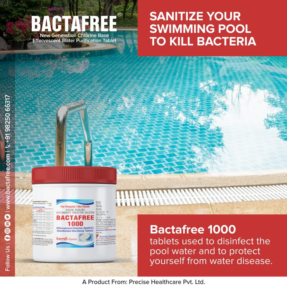 Bactafree tablets for clean and bacteria free swimming Pool