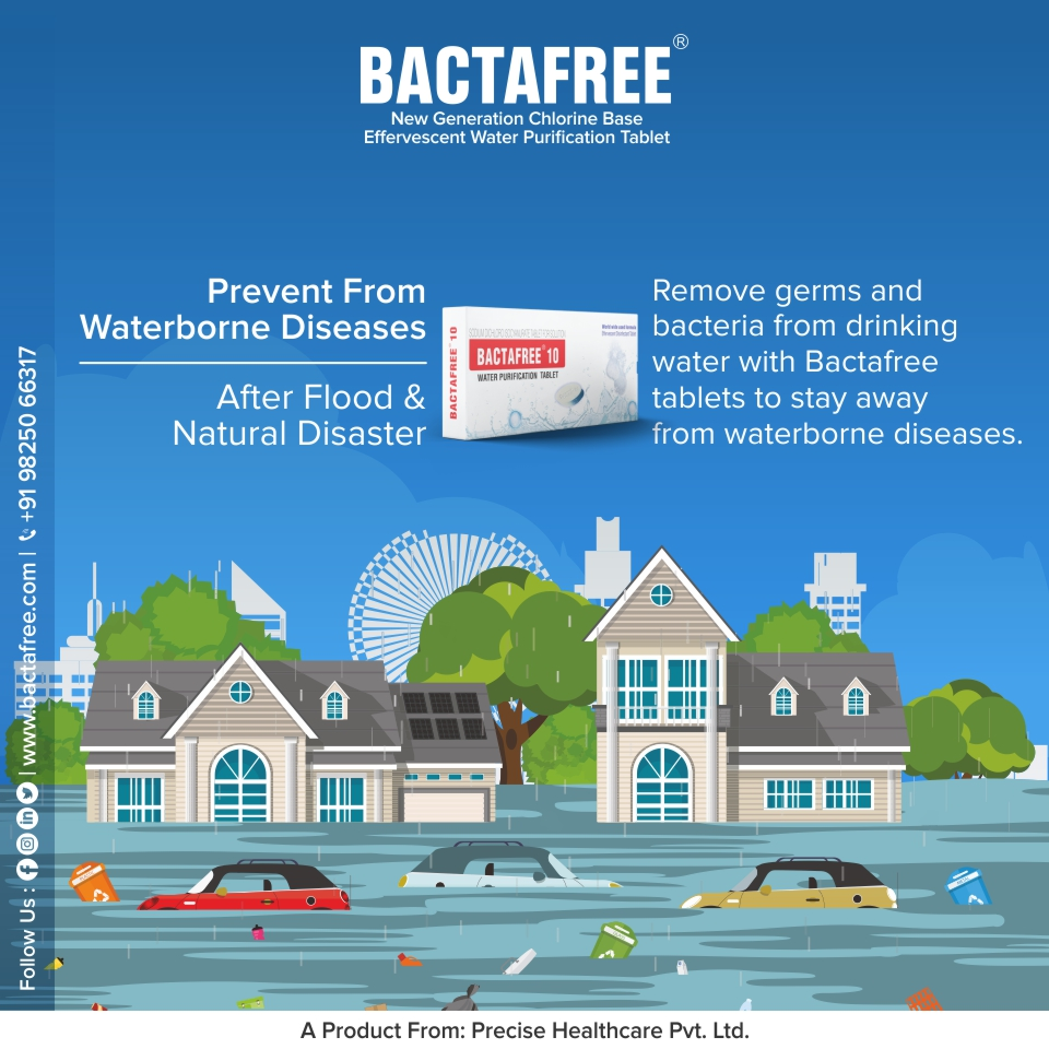 Bactafree tablets for natural disaster for water and food sanitization