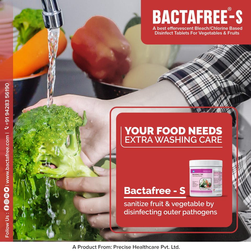 Sanitizing and Disinfecting Vegetables And Fruits With Bactafree - S
